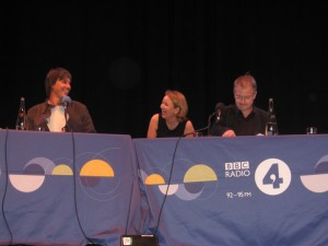 Alexandra Feachem with Brian Cox and Robin Ince